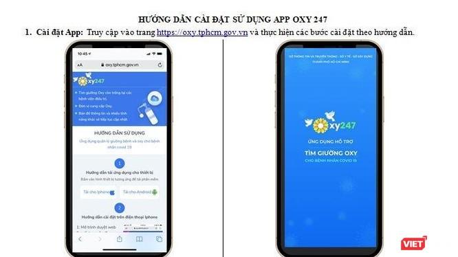 Giao diện của App Tìm giường oxy cho bệnh nhân COVID-19. Ảnh chụp màn hình