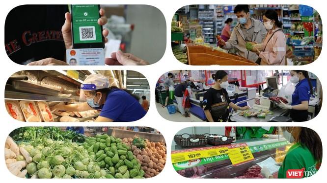 Có thẻ xanh COVID người dân vùng dịch được vào siêu thị mua hàng. Ảnh: Hoà Bình