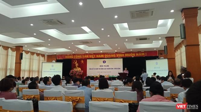 Buổi Hội nghị tổng kết 9 năm thi hành Luật Khám bệnh, chữa bệnh tại Hà Nội sáng 12/7.