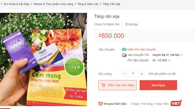 Sản phẩm Tăng cân SQA được bày bán trên một trang thương mại điện tử.