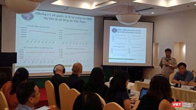 Các chuyên gia về điều trị viêm gan C chia sẻ thông tin tại buổi hội thảo sáng 24/9.