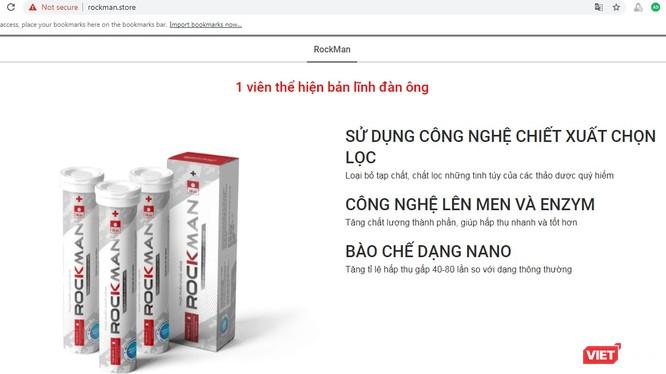 Một trang web quảng cáo sản phẩm Rockman quá công dụng vi phạm quy định.