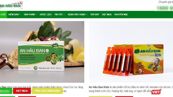 Trang web vi phạm quảng cáo 2 sản phẩm An Hầu Đan Kids và An Hầu Đan.