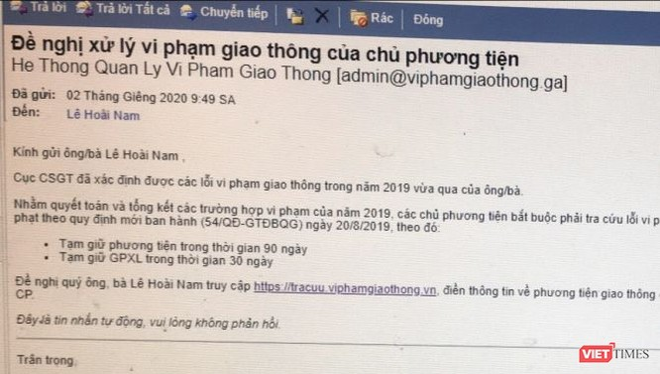 Nội dung thư điện tử của các đối tượng lừa đảo trên địa bàn Lạng Sơn. Ảnh: Cục CSGT - Bộ Công an.