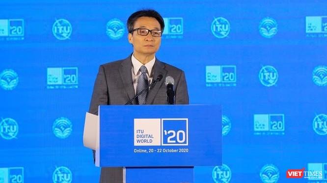 Phó Thủ tướng Vũ Đức Đam phát biểu tại Lễ khai mạc Hội nghị và triển lãm Thế giới số (ITU Digital World) 2020. Ảnh: Lê Minh Sơn.