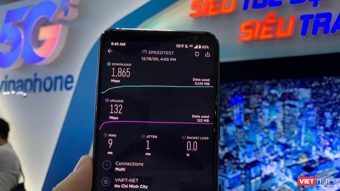 Tốc độ VinaPhone 5G đạt 1865Mbps.