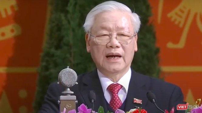 Tổng Bí thư Nguyễn Phú Trọng tại Lễ ra mắt Ban Chấp hành Trung ương Đảng khoá XIII.