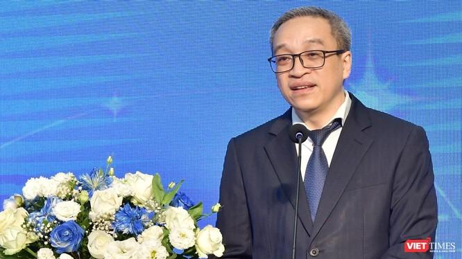 Thứ trưởng Bộ TT&TT Phan Tâm phát biểu tại Lễ kỷ niệm 20 năm thành lập của Hanoi Telecom.