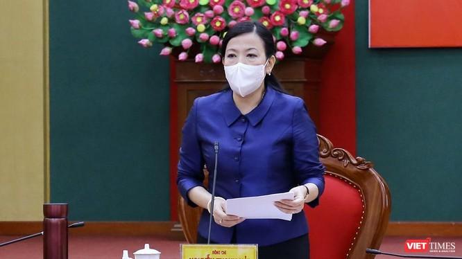 Bà Nguyễn Thanh Hải tại Hội nghị trực tuyến về công tác phòng, chống dịch COVID-19.