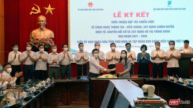 Lễ ký kết hợp tác giai đoạn 2021-2026 giữa VNPT và UBND tỉnh Thái Bình.