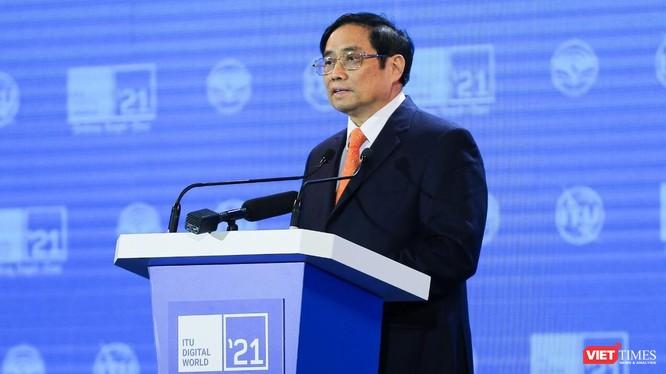 Thủ tướng Phạm Minh Chính phát biểu khai mạc ITU Digital World 2021.