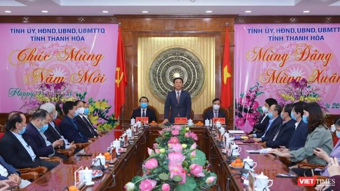 Ủy viên TƯ Đảng, Bí thư Tỉnh ủy Thanh Hóa Đỗ Trọng Hưng phát biểu tại buổi gặp mặt