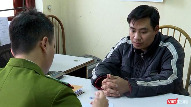 Nguyễn Trọng Trình tại cơ quan công an. Ảnh: Cơ quan Công an cung cấp