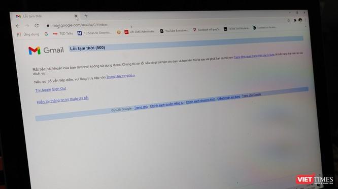 """Các dịch vụ của Google đồng loạt """"sập"""" vào chiều 14/12 tại Việt Nam."""