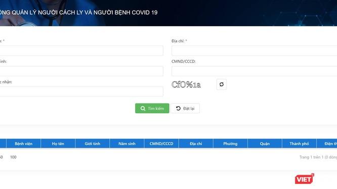 Giao diện trang tra cứu thông tin người đang điều trị COVID-19 tại trang web Sở Y tế TP.HCM.