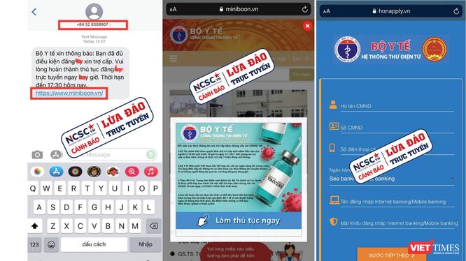 2 website và số điện thoại giả mạo Bộ Y tế để lừa đảo trợ cấp COVID-19.