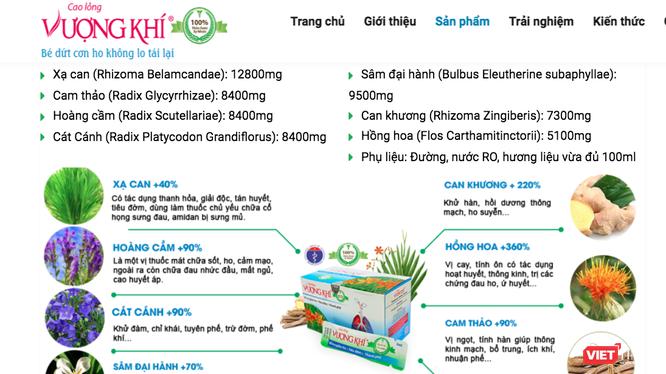 Sản phẩm Cao lỏng Vượng khí được quảng cáo trên mạng.