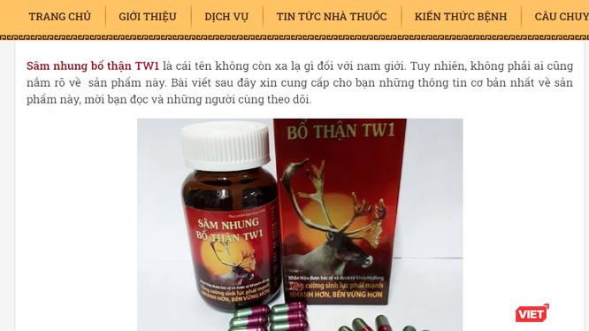 Quảng cáo thực phẩm bảo vệ sức khỏe Tinh sâm nhung bổ thận Dược liệu TW1. Ảnh: https://dongynguyenvanlieu.com/sam-nhung-bo-than-tw1