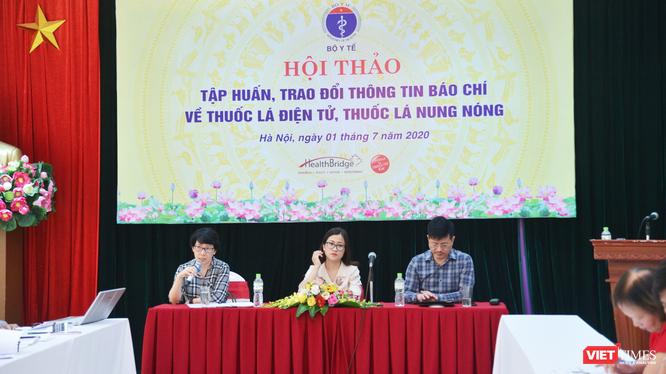 Hội thảo tập huấn, trao đổi thông tin báo chí về thuốc lá điện tử, thuốc lá nung nóng (Ảnh: Minh Thúy)