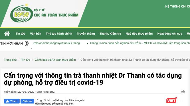 Khuyến cáo của Cục An toàn thực phẩm về thông tin trà thanh nhiệt Dr Thanh có tác dụng dự phòng, hỗ trợ điều trị COVID-19 (Ảnh: Minh Thúy)
