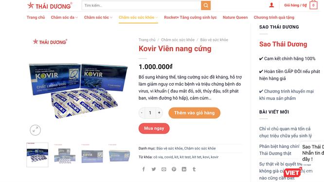Viên nang cứng Kovir của Công ty Cổ phần Sao Thái Dương có giá bán lên tới 1 triệu đồng (Ảnh - VT)