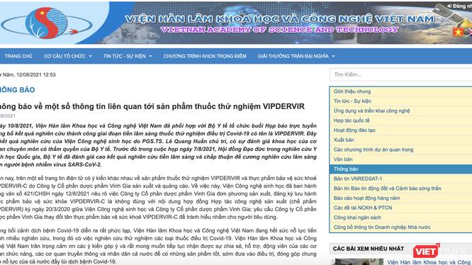 Thông báo về một số thông tin liên quan tới sản phẩm thuốc thử nghiệm VIPDERVIR của Viện Hàn lâm Khoa học và Công nghệ Việt Nam (Ảnh - VT)