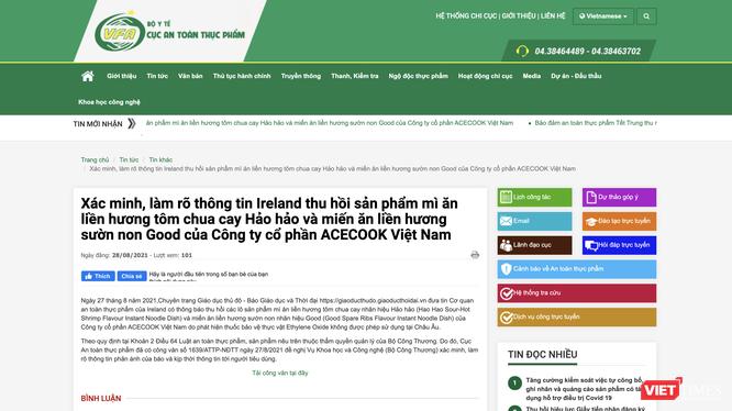 Thông báo của Cục An toàn thực phẩm (Bộ Y tế) về việc xác minh, làm rõ thông tin Ireland thu hồi mì Hảo Hảo, miến Good (Ảnh - MT)