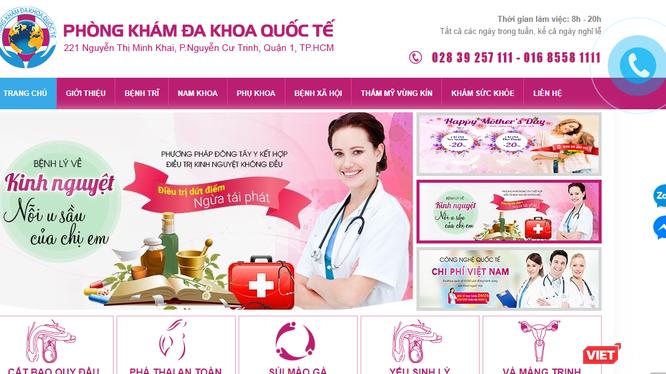 Website quảng cáo của Phòng khám Đa khoa Quốc tế