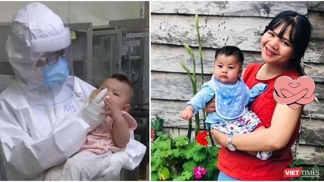 Bác sĩ Thanh Thúy cùng bệnh nhi và con trai. Ảnh: NT ghép