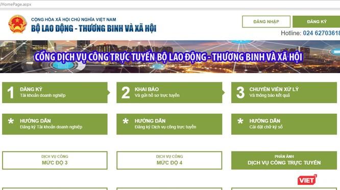 Giao diện Cổng dịch vụ công trực tuyến Bộ LĐTBXH. Ảnh: VietTimes