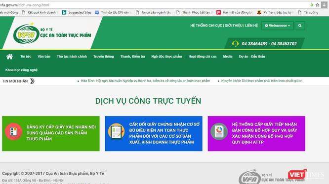 Cổng dịch vụ công trực tuyến của Cục ATTP.