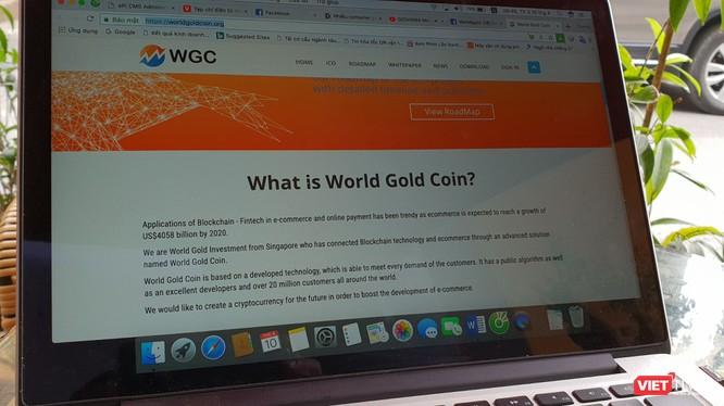 Một trang web quảng bá tiền ảo