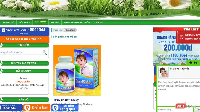 Website Quảng cáo sản phẩm thực phẩm bảo vệ sức khỏe BoniBaio vi phạm và bị xử phạt