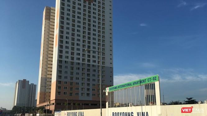 Khu chung cư quốc tế Booyoung thuộc Khu đô thị Mỗ Lao là vị trí đắc địa của quận Hà Đông, nhưng vẫn thuộc danh sách các dự án chậm tiến độ.