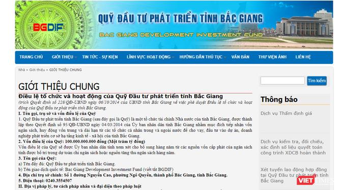 Quỹ đầu tư phát triển tỉnh Bắc Giang được thành lập năm 2014, trực thuộc tỉnh Bắc Giang.