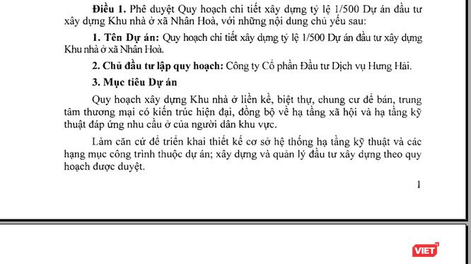 Công ty CP Đầu tư dịch vụ Hưng Hải là đơn vị lập quy hoạch dự án.
