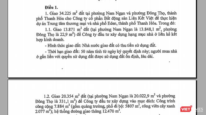 Công ty CP Bất động sản Liên Kết Việt vừa được UBND tỉnh Thanh Hóa giao đất và cho thuê tổng số khoảng 4,3ha đất để thực hiện dự án Trung tâm thương mại và nhà phố Eden.