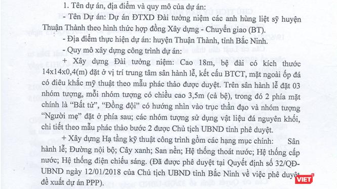 Dự án Đầu tư xây dựng Đài tưởng niệm các anh hùng liệt sỹ huyện Thuận Thành với tổng mức đầu tư hơn 44 tỷ đồng.