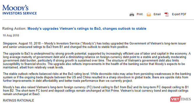 """Vì sao Moody's nâng hạng tín nhiệm lên Ba3, thay đổi triển vọng của Việt Nam thành """"ổn định""""? ảnh 1"""