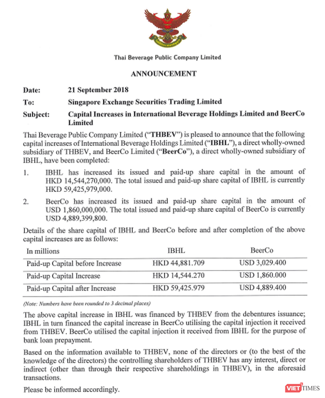 ThaiBev thực hiện phát hành trái phiếu doanh nghiệp, tăng vốn công ty sở hữu Sabeco để trả nợ ngân hàng ảnh 1