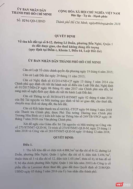 """UBND Tp. Hồ Chí Minh thu hồi """"đất vàng"""" số 8-12 Lê Duẩn ảnh 1"""
