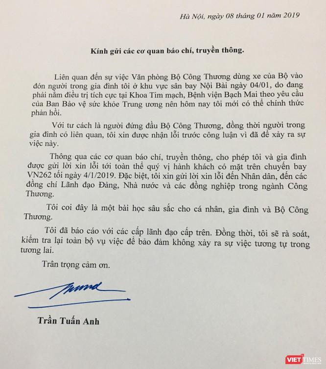 """Xe công vào sân bay đón """"người nhà"""": Bộ trưởng Bộ Công Thương gửi thư xin lỗi nhân dân ảnh 1"""