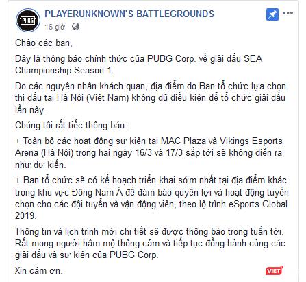 Giải PUBG khủng tại Việt Nam bị tuýt còi trước giờ G ảnh 2