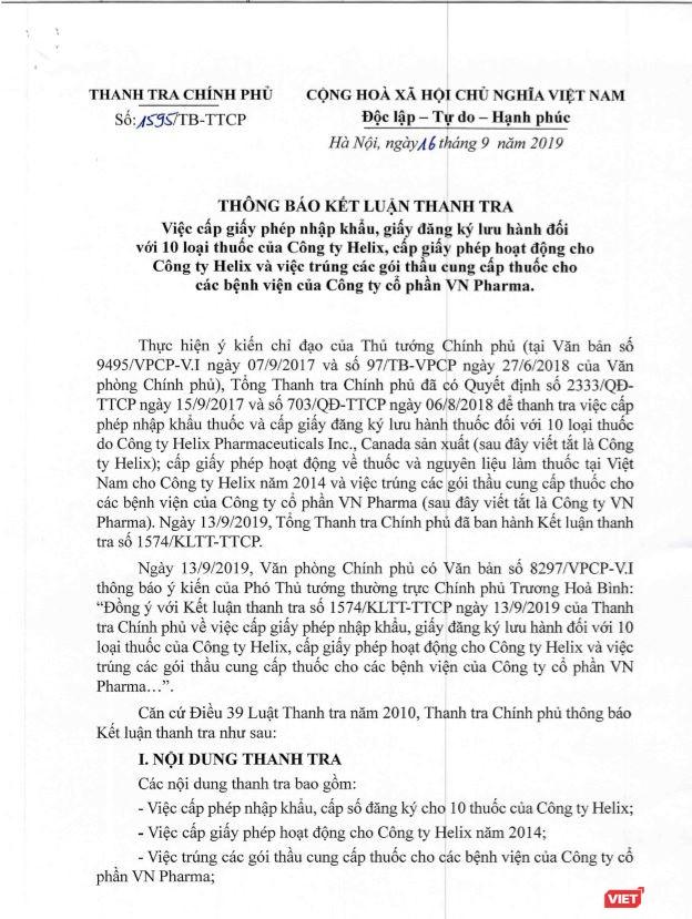 Chuyển hồ sơ vụ vi phạm trong cấp phép cho hàng loạt thuốc của Công ty Helix và việc trúng thầu của VN Pharma sang Bộ Công an ảnh 1