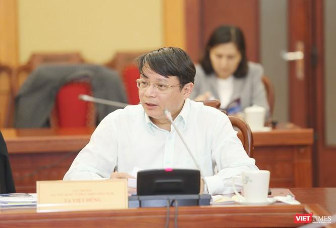 Cục trưởng Cục Ứng dụng và Phát triển công nghệ Tạ Việt Dũng phát biểu tại buổi họp báo