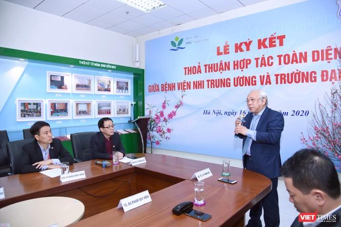 GS.TS. Lê Thanh Hải – Giám đốc Bệnh viện Nhi Trung ương bày tỏ vinh dự khi Bệnh viện hợp tác với Trường Đại học Y Hà Nội