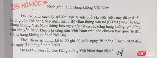 Nội dung công văn hỏa tốc của Bộ Giao thông vận tải gửi Cục Hàng không Việt Nam.
