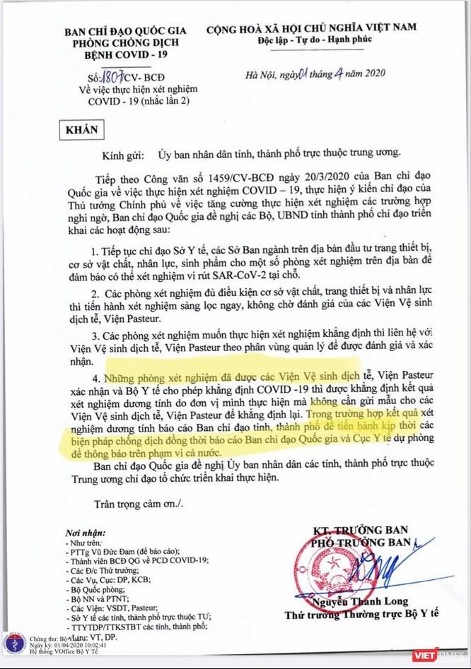 """Thứ trưởng Thường trực Bộ Y tế Nguyễn Thanh Long đã ký công văn khẩn """"về việc thực hiện xét nghiệm COVID-19"""""""