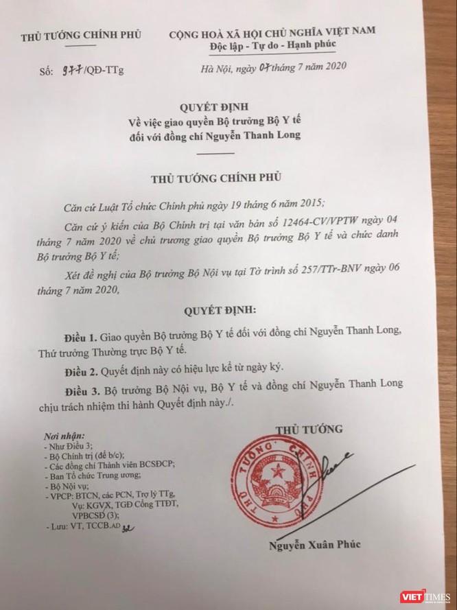 Quyết định của Thủ tướng giao quyền Bộ trưởng Bộ Y tế cho Thứ trưởng Thường trực Nguyễn Thanh Long