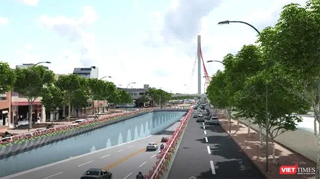 Khu vực hầm chui dẫn lên cầu Trần Thị Lý